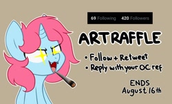 Size: 2000x1219   Tagged: safe, artist:handgunboi, oc, oc:starfire, pony, unicorn, blunt, female, giveaway, mare, messy mane, raffle, shining eyes, simple background