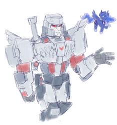 Size: 1280x1372 | Tagged: safe, artist:sumireart, princess luna, alicorn, robot, crossover, megatron, transformers