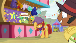 Size: 1920x1080 | Tagged: safe, screencap, jade spade, earth pony, parasprite, unicorn, growing up is hard to do, cowboy hat, grin, hat, horseshoes, nodding, pigtails, plushie, smiling, worried