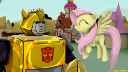 Size: 1920x1080 | Tagged: safe, artist:lance-pizon, fluttershy, pegasus, robot, 3d, autobot, bumblebee, crossover, cute, flower crowns, source filmmaker, transformers