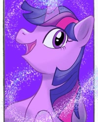 Size: 1072x1340 | Tagged: safe, alternate version, artist:river_base, twilight sparkle, pony, unicorn, bust, eyelashes, female, glowing horn, horn, mare, open mouth, smiling, solo, unicorn twilight