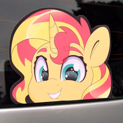 Size: 3120x3120 | Tagged: safe, artist:partylikeanartist, sunset shimmer, pony, unicorn, anime, anime eyes, bumper sticker, car, chibi, cute, etsy, eyebrows, eyebrows visible through hair, ford focus, irl, lip bite, looking at you, merchandise, peeker, photo, shimmerbetes, solo, sticker