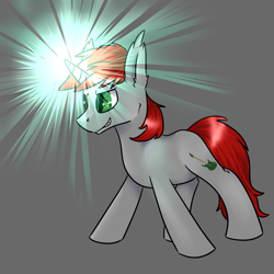 Size: 1024x1024 | Tagged: safe, artist:intfighter, oc, oc only, pony, unicorn, glowing horn, gray background, horn, simple background, solo, unicorn oc