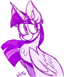 Size: 856x1024 | Tagged: safe, artist:wutanimations, twilight sparkle, alicorn, pony, chest fluff, cute, ear fluff, looking away, monochrome, simple background, sitting, sketch, smiling, solo, twiabetes, twilight sparkle (alicorn), white background