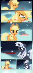 Size: 1919x4225 | Tagged: safe, artist:estories, applejack, oc, oc:silverlay, earth pony, pony, unicorn, comic:a(pple)ffection, blushing, comic, dialogue, duo, eyes closed, female, hoof on chest, horn, looking at each other, mare, raised hoof, show accurate, unamused, unicorn oc, upset, vector