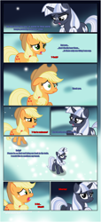 Size: 1919x4225 | Tagged: safe, artist:estories, applejack, oc, oc:silverlay, earth pony, pony, unicorn, comic:a(pple)ffection, comic, dialogue, duo, female, floppy ears, horn, looking at each other, mare, raised hoof, shocked, show accurate, unamused, unicorn oc, upset, worried