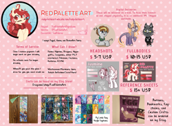 Size: 8829x6453 | Tagged: safe, artist:redpalette, derpy hooves, dj pon-3, fluttershy, maud pie, pinkie pie, princess celestia, princess luna, queen chrysalis, rainbow dash, rarity, sunburst, sunset shimmer, tempest shadow, twilight sparkle, vinyl scratch, oc, earth pony, rat, unicorn, advertisement, animal crossing, button, commission, commission info, commissions open, craft, earth pony oc, horn, pin, reference sheet, unicorn oc