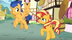 Size: 1280x721 | Tagged: safe, artist:supersamyoshi, flash sentry, sunset shimmer, female, flashimmer, male, shipping, straight