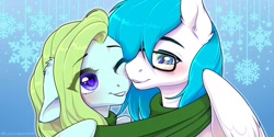 Size: 2000x1000 | Tagged: safe, artist:kyotoleopard, oc, oc only, earth pony, pegasus, pony, blushing, clothes, commission, digital art, duo, floppy ears, glasses, looking at each other, one eye closed, scarf, snuggling, wings