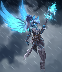 Size: 3311x3840 | Tagged: safe, artist:airiniblock, oc, oc only, oc:vivid tone, anthro, pegasus, pony, armor, clothes, commission, dagger, female, looking at you, not luna, rain, rcf community, solo, staff, weapon