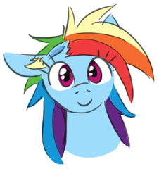 Size: 285x315 | Tagged: safe, artist:jargon scott, rainbow dash, pony, dent, smiling, solo