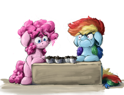 Size: 3300x2550 | Tagged: safe, artist:th3ipodm0n, pinkie pie, rainbow dash, earth pony, pegasus, angry, burnt, do i look angry, duo, faic, female, food, high res, mare, rainbow dash is not amused, simple background, sitting, unamused