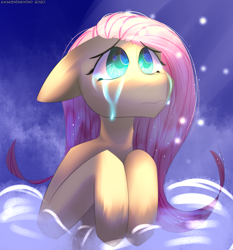 Size: 2790x3000 | Tagged: safe, artist:awakeningwind, fluttershy, pegasus, pony, crying, digital art, female, floppy ears, hooves, looking at you, mare, sad, simple background, solo
