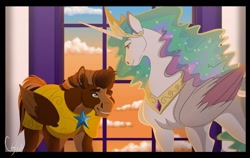 Size: 1280x810 | Tagged: safe, artist:colourstrike, princess celestia, oc, oc:layth, alicorn, pegasus, pony, armor, colored wings, colored wingtips, female, male, mare, royal guard, stallion, sunset