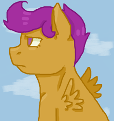 Size: 1400x1482 | Tagged: safe, artist:theedgyduck, scootaloo, pegasus, female, filly, frown, mare, simple background, solo