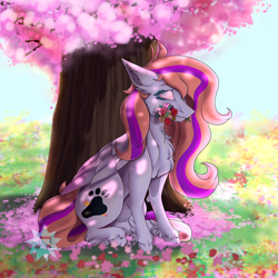 Size: 4000x4000 | Tagged: safe, artist:lucythunderforth, oc, oc only, oc:bittersweet, pegasus, cherry blossom tree, colored wings, flower, gradient wings, long mane, long tail, shading, solo, tree, wings