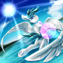 Size: 2000x2000 | Tagged: safe, artist:kiwwsplash, oc, oc only, pegasus, pony, cloud, flying, looking at you, looking back, looking back at you, pegasus oc, solo, sun, underhoof, water, wings