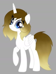Size: 1215x1620 | Tagged: safe, artist:pearl123_art, oc, oc only, alicorn, pony, alicorn oc, base used, eyelashes, gray background, horn, raised hoof, simple background, smiling, solo, wings