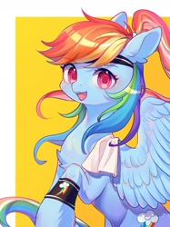 Size: 1280x1707 | Tagged: safe, artist:leafywind, rainbow dash, pegasus, pony, alternate hairstyle, backwards cutie mark, chest fluff, cute, dashabetes, fangs, female, headband, looking at you, mare, ponytail, prehensile mane, smiling, smiling at you, solo, sweatband, towel