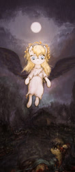 Size: 882x2003 | Tagged: safe, anonymous artist, oc, oc:aryanne, art pack:marenheit 451, /mlp/, angelic wings, painting, rain, vertical, wings