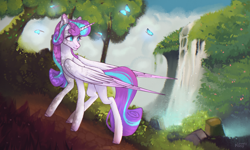Size: 4096x2450 | Tagged: safe, artist:lovely-pony, princess flurry heart, pony, older, solo, tree, waterfall