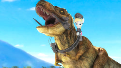 Size: 4533x2550 | Tagged: safe, oc, oc:aryanne, dinosaur, art pack:marenheit 451, /mlp/, 3d, gun, riding, weapon