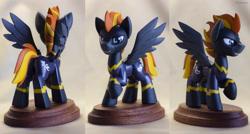 Size: 2994x1608 | Tagged: safe, artist:h1ppezz, oc, oc:blaze, pony, figurine, irl, male, photo, solo, stallion