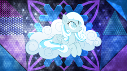 Size: 3840x2160 | Tagged: safe, artist:laszlvfx, artist:negatif22, edit, oc, oc:snowdrop, pony, cloud, prone, solo, wallpaper, wallpaper edit