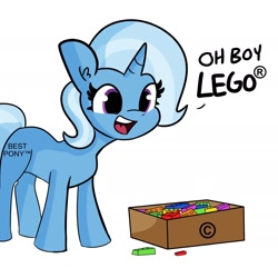Size: 1818x1818 | Tagged: safe, artist:tjpones, edit, trixie, pony, unicorn, alternate cutie mark, best pony, copyright, cute, dialogue, diatrixes, female, lego, mare, pills, simple background, solo, trademark, white background