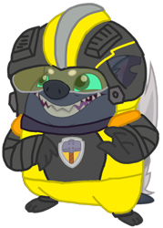 Size: 742x1037 | Tagged: safe, artist:徐詩珮, edit, vector edit, grubber, hedgehog, series:sprglitemplight diary, series:sprglitemplight life jacket days, series:springshadowdrops diary, series:springshadowdrops life jacket days, my little pony: the movie, alternate universe, clothes, male, mighty pups, paw patrol, rubble (paw patrol), simple background, solo, transparent background, vector