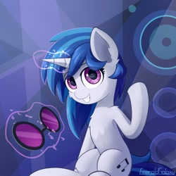 Size: 1920x1920 | Tagged: safe, artist:emeraldgalaxy, dj pon-3, vinyl scratch, pony, unicorn, female, magic, mare, solo, telekinesis, vinyl's glasses