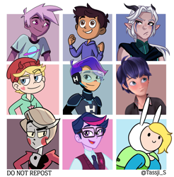 Size: 3529x3585 | Tagged: safe, artist:tassji-s, twilight sparkle, equestria girls, adventure time, barely eqg related, barely pony related, dusk shine, fionna the human, glitch techs, hazbin hotel, kipo and the age of wonderbeasts, miraculous ladybug, rule 63, star vs the forces of evil, the dragon prince, the owl house