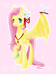 Size: 900x1200 | Tagged: safe, artist:pettaletta101, fluttershy, dragonfly, insect, pony, flower, flower in hair, pink background, simple background