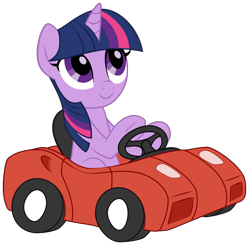 Size: 8000x8000 | Tagged: artist needed, source needed, safe, twilight sparkle, pony, unicorn, absurd resolution, car, cute, driving, funny, simple background, smiling, solo, toy car, transparent background, twiabetes, unicorn twilight