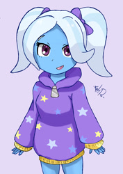 Size: 1717x2428 | Tagged: safe, artist:kalipoart, trixie, equestria girls, alternate hairstyle, babysitter trixie, clothes, cute, diatrixes, gameloft, gameloft interpretation, high res, hoodie, pigtails, purple background, simple background, solo, younger