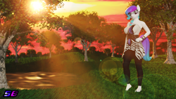 Size: 3840x2160 | Tagged: safe, artist:shadowboltsfm, oc, oc only, oc:aurora starling, anthro, plantigrade anthro, 3d, 4k, barefoot, beautiful, blender, bracelet, breasts, cute, feet, glasses, hand on hip, heel pop, jewelry, lens flare, looking at you, pond, smiling, standing, sun ray, sunset, wallpaper