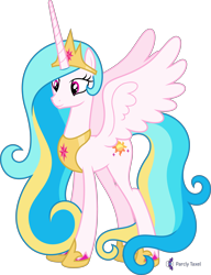 Size: 4000x5221 | Tagged: safe, artist:parclytaxel, oc, oc only, oc:princess skysparkle, alicorn, pony, .svg available, absurd resolution, alicorn oc, celestia recolor, commission, crown, female, hoof shoes, horn, jewelry, mare, not celestia, peytral, regalia, simple background, smiling, solo, spread wings, transparent background, vector, wings