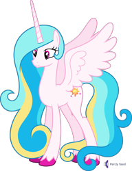Size: 4000x5221 | Tagged: safe, alternate version, artist:parclytaxel, oc, oc only, oc:princess skysparkle, alicorn, pony, .svg available, absurd resolution, alicorn oc, commission, female, horn, mare, not celestia, simple background, smiling, solo, spread wings, transparent background, unshorn fetlocks, vector, wings