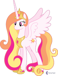 Size: 4000x5221 | Tagged: safe, alternate version, artist:parclytaxel, oc, oc only, oc:princess skysparkle, alicorn, pony, .svg available, absurd resolution, alicorn oc, celestia recolor, commission, crown, female, hoof shoes, horn, jewelry, mare, not celestia, peytral, recolor, regalia, simple background, smiling, solo, spread wings, transparent background, vector, wings