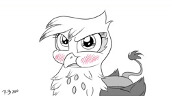 Size: 1200x675 | Tagged: safe, artist:pony-berserker, gilda, griffon, behaving like a bird, blushing, cute, female, gilda is not amused, gildadorable, monochrome, neo noir, partial color, puffy cheeks, stippling, tsundere, unamused