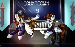 Size: 1280x814 | Tagged: safe, artist:appleneedle, oc, pegasus, pony, art, banner, button, character, clone, control panel, countdown, digital, dna, draw, drawing, fanart, fiction, flag, paint, painting, science fiction, screen, stick, sword, weapon