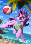 Size: 1690x2390 | Tagged: safe, artist:yakovlev-vad, starlight glimmer, pony, unicorn, beach, beach ball, chest fluff, clothes, cute, female, flower, flower in hair, glimmerbetes, mare, open clothes, open mouth, open shirt, palm tree, shirt, solo, sunglasses, tree, water