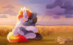 Size: 2400x1500 | Tagged: safe, artist:zlatavector, oc, oc only, pegasus, pony, unicorn, commission, couple, love, outdoors, scenery, sweet, ych result