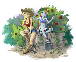 Size: 1469x1200 | Tagged: safe, artist:vyazinrei, applejack, rainbow dash, equestria girls, appledash, arm between legs, belt, blushing, boot, boots, breasts, bush, busty applejack, clothes, compression shorts, cowboy boots, cowboy hat, crossed legs, denim shorts, feet, female, floral head wreath, flower, food, freckles, garden, green eyes, hat, haystick, lesbian, pink eyes, rake, rose, sandals, shipping, shoes, shorts, shovel, sitting, smiling, stetson, tanktop, thorns, tomboy, wheat