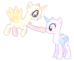 Size: 3468x2856 | Tagged: safe, artist:lazuli, oc, oc only, alicorn, pony, alicorn oc, bald, base, boop, duo, eyelashes, flying, horn, open mouth, simple background, smiling, transparent background, wings