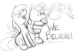 Size: 1684x1191 | Tagged: artist needed, safe, derpy hooves, twilight sparkle, pegasus, unicorn, /mlp/, 4chan cup, flag, monochrome, sketch