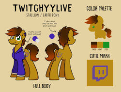 Size: 2840x2160 | Tagged: safe, artist:sugar morning, oc, oc only, oc:twitchyylive, earth pony, pony, clothes, cutie mark, jacket, male, piercing, reference sheet, simple background, solo, stallion, text