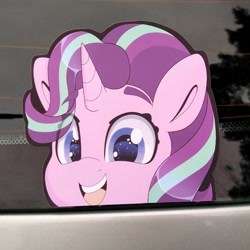 Size: 794x794 | Tagged: safe, artist:partylikeanartist, starlight glimmer, pony, unicorn, anime, anime eyes, bumper sticker, car, chibi, cute, etsy, ford focus, glimmerbetes, irl, looking at you, peeker, peeking, photo, solo, sticker