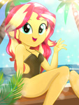 Size: 1800x2400 | Tagged: safe, artist:artmlpk, sunset shimmer, equestria girls, adorable face, adorasexy, adorkable, bare chest, bare shoulders, beach, beautiful, black swimsuit, clothes, cute, digital art, dork, female, lens flare, looking at you, one-piece swimsuit, open mouth, palm tree, sexy, sleeveless, smiley face, smiling, smiling at you, solo, summer, swimsuit, tree, water, watermark