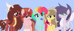 Size: 3500x1466 | Tagged: safe, artist:circuspaparazzi5678, oc, oc:amethyst, oc:honey sweets, oc:rainbow blitz, oc:sakura ruby, oc:sunrise dawn, dracony, earth pony, hybrid, pegasus, pony, unicorn, bandana, base used, dragon horns, dragon wings, ear piercing, earring, interspecies offspring, jewelry, lesbian pride flag, magical lesbian spawn, movie accurate, multicolored hair, next generation, offspring, parent:applejack, parent:caramel, parent:fluttershy, parent:rainbow dash, parent:rarity, parent:spike, parent:starlight glimmer, parent:sunburst, parents:carajack, parents:flutterdash, parents:sparity, parents:starburst, piercing, pride, pride flag, rainbow hair, rainbow makeup, spots, tanabata dragon pony, wings